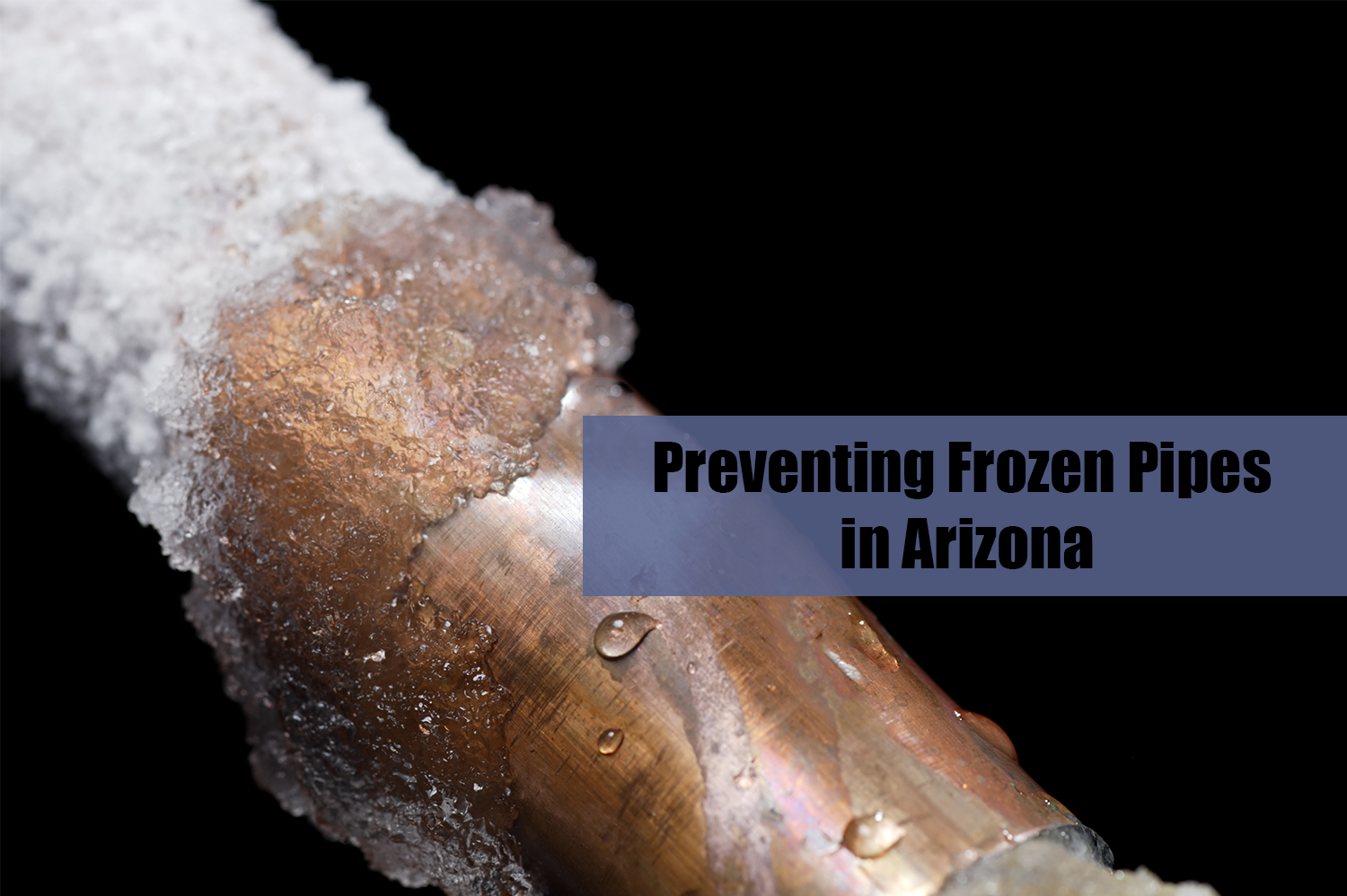 A frozen pipe on a black background. City Plumbing Services is here to help you with your frozen pipes.