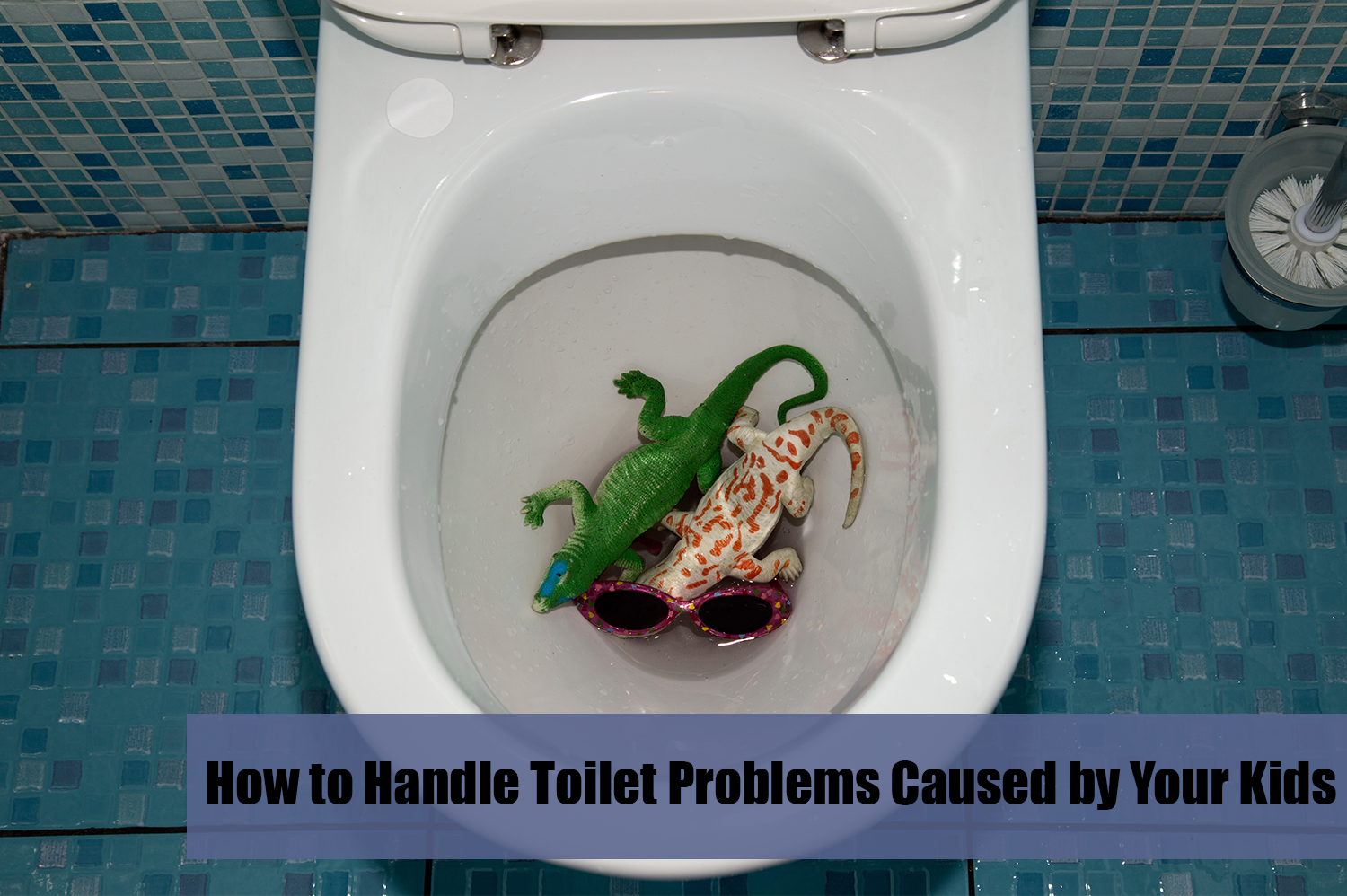 Toilet with two toy alligators and a pair of sunglasses in the bowl; this will likely lead to toilet problems.
